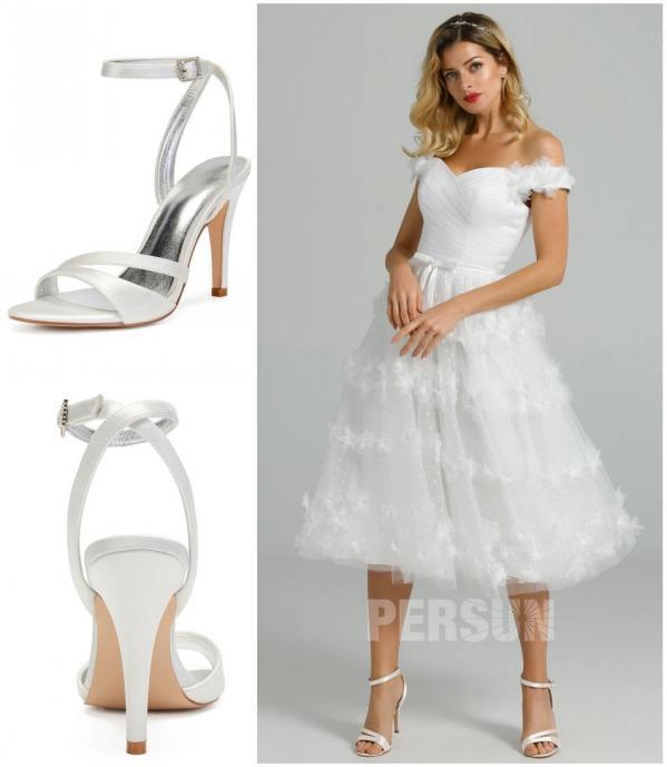 comment assortir robe de mariée courte col bardot ornée de fleurs