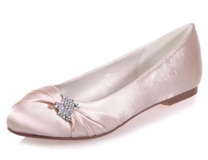 ballerine de mariage rose poudré en satin ornée de strass