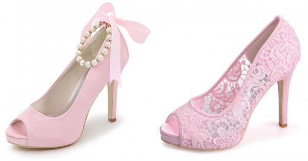 chaussures de mariage rose poudré bout ouvert talon haut satin dentelle