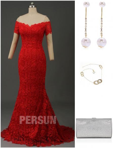 comment assortir robe soirée dentelle rouge sirène