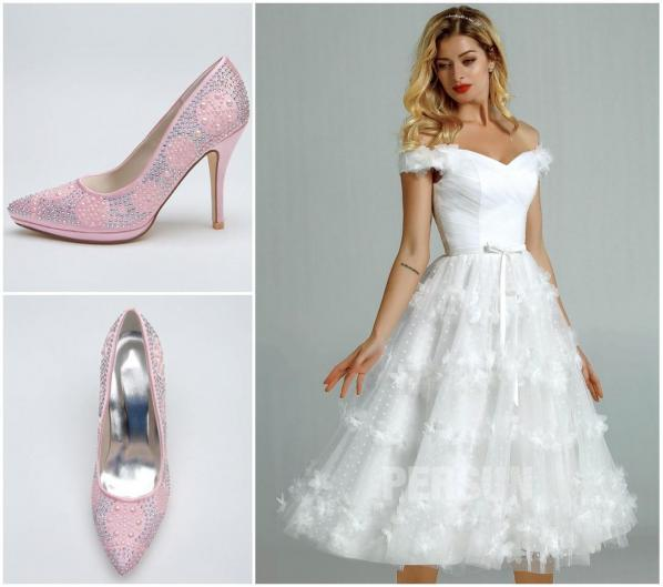 escarpins de mariage rose pour robe mariée courte col bardot