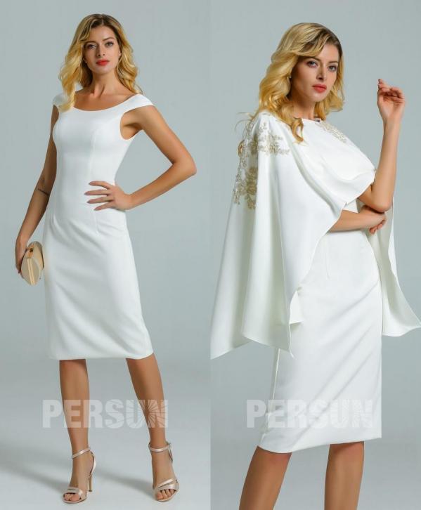 robe soirée courte blanc cassé avec cape détachable brodé guipure