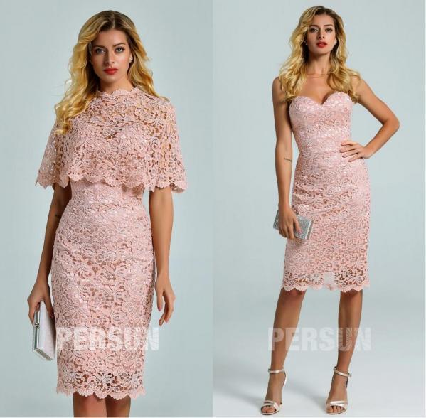 robe courte fourreau rose dentelle guipure bustier coeur avec cape détachable