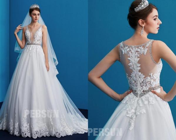 robe de mariée brodée de dentelle 2020 col v dos transparent