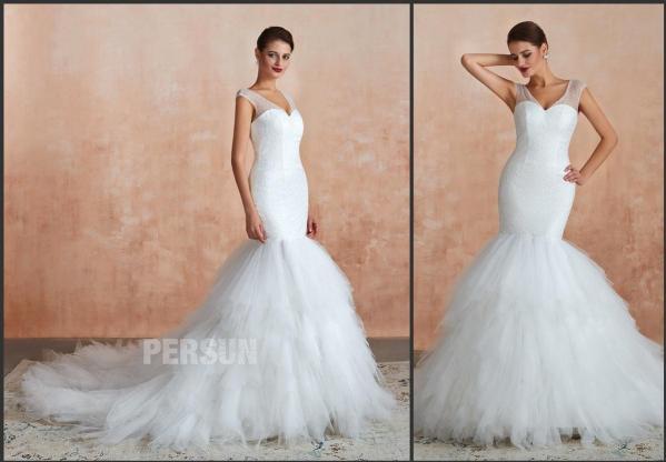 robe de mariée sirène col v pailletée à jupe froufrou