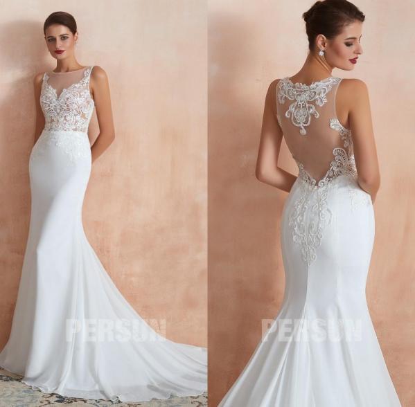 robe de mariée sirène haut transparent appliqué de guipure