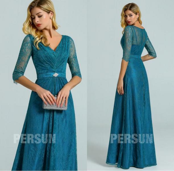 robe de soiree dentelle longue vert pin avec manches pour grande taille