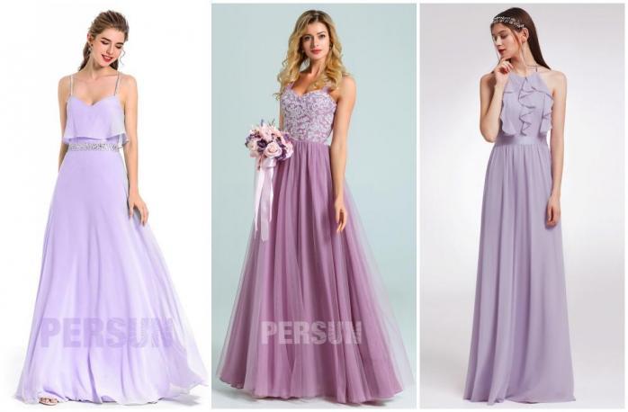robe demoiselle d'honneur longue violette clair