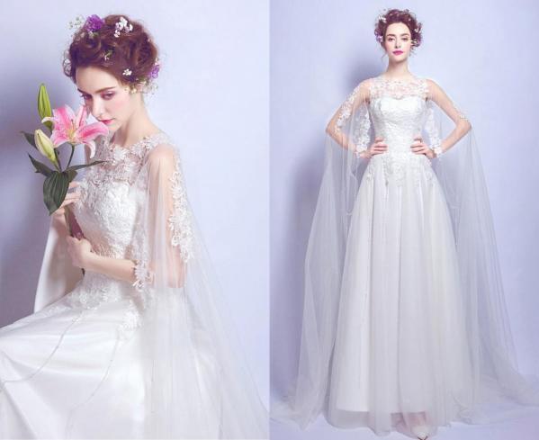 robe de mariée haut dentelle avec cape appliquée longue