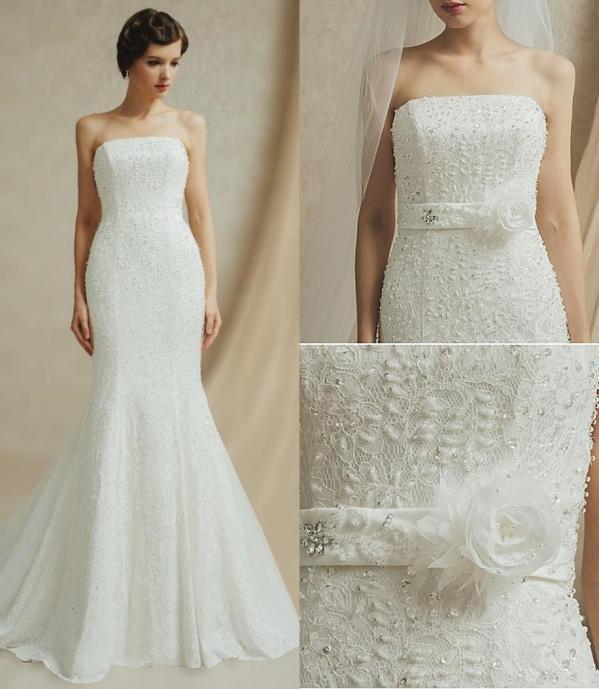 robe mariée sirène bustier dentelle sequins parsemée de perles