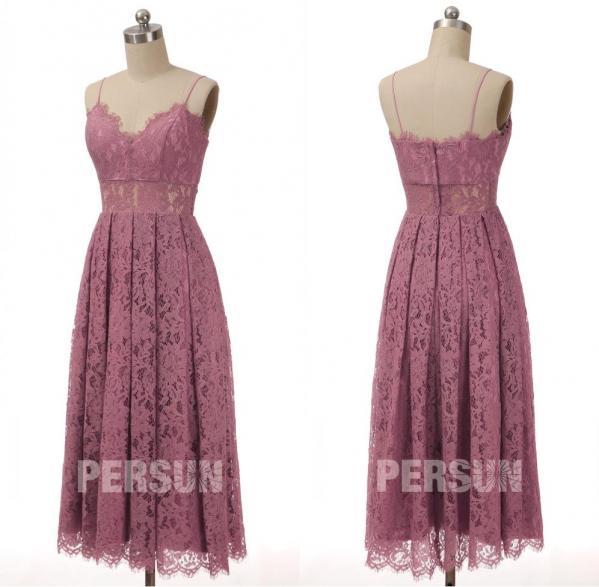 robe soirée rose parme dentelle midi col v