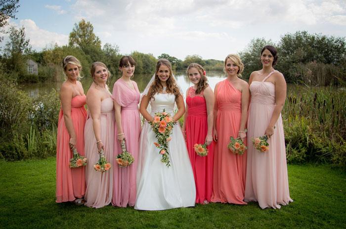 Robes demoiselles d honneur longues en nuance rose
