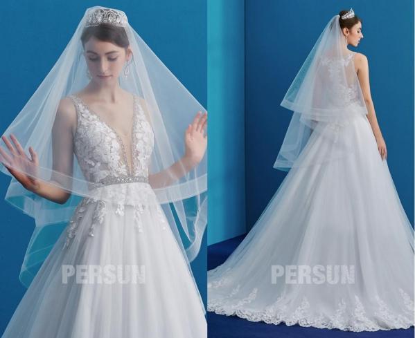 voile mariée simple assorti à robe mariée col v haut dentelle